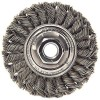"Wire Wheel 4"" Diameter x 1/2"" Wide with 5/8-11 Arbour Hole .014 Gauge Standard Twist Knotted (Stainless Steel)"