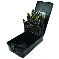 """*81502 - 1/16"""" to 1/2"""" by 64ths Jobber Length 29 Piece High Speed Steel Black & Gold USA USA - Gold-Black 135° Split Point"""